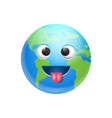 cartoon earth face fool icon funny planet emotion vector image vector image