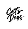 cats dogs handwritten black calligraphy vector image vector image