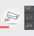 cctv camera line icon with editable stroke vector image