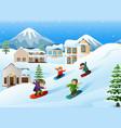 children snowboarder sliding down hill vector image vector image