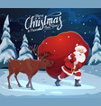 christmas and new year santa claus with deer bag vector image vector image
