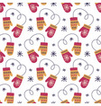 christmas decoration seamless pattern with mittens vector image vector image