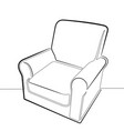comfortable chair one continuous line g vector image vector image