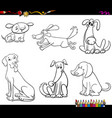 comic dog characters coloring book vector image vector image