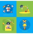 Cricket 2x2 Flat Icons vector image vector image