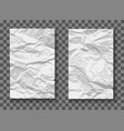crumpled paper mockups vector image vector image