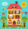 cute animals in house vector image