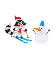 cute skiing raccoon character and funny snowman vector image vector image