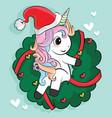 Cute unicorn christmas character cartoon merry x
