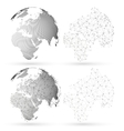 Dotted world globe with abstract construction vector image vector image