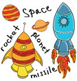 drawn colored rockets on white vector image vector image