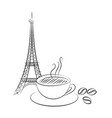eiffel tower on white vector image vector image