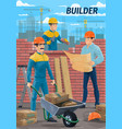 engineer architect builder mason at construction vector image vector image