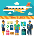 flat icon set and travel vector image vector image