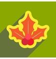 flat icon with long shadow Christmas mistletoe vector image vector image