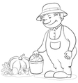 gardener with vegetables outline vector image vector image