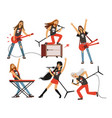 guitar amplifier and other music equipment rock vector image vector image