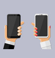 hands holding smartphones vector image