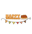 Happy Thanksgiving Day banner sign with a pie on a vector image