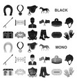 hippodrome and horse black icons in set collection vector image