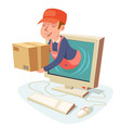 internet delivery concept box pc computer monitor vector image