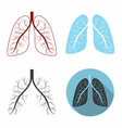 lungs set human lungs anatomy symbol set vector image