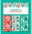 merry christmas vintage folk icon card set vector image vector image