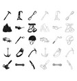 mountaineering and climbing blackoutline icons in vector image vector image