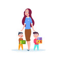 nanny and kids young babysitter cartoon little vector image vector image