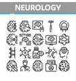 neurology medicine collection icons set vector image