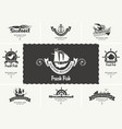 set business cards for seafood restaurants vector image