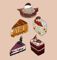 set cake hand draw sketch vector image vector image