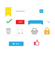 shopping icons with isolated and website symbols vector image vector image