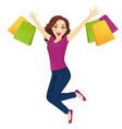 shopping woman in jeans surprised vector image vector image