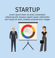 startup infographic with business people vector image vector image