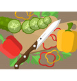 Still life with sliced vegetables on a table with vector image vector image