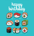 sushi emoji greeting card with text happy birthday vector image vector image