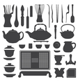 tea ceremony equipment silhouette set vector image vector image