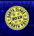 textured santa claus north pole stamp seal on vector image