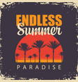travel banner with palm trees at sunset vector image vector image
