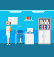 veterinary hospital woman receptionist talking vector image vector image