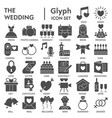 wedding glyph signed icon set love symbols vector image