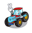 with guitar tractor mascot cartoon style vector image vector image