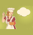 young woman chef with retro clothes cooking soup vector image vector image