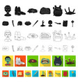 zombies and attributes flat icons in set vector image
