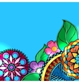 Hand drawn colored floral zentangle on white vector image