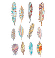 Feathers set with different patterns vector image