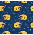 Seamless pattern with cute cartoon yellow fish vector image