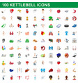 100 kettlebell icons set cartoon style vector image vector image