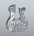 Abstract Music Guitar with Notes White Background vector image vector image
